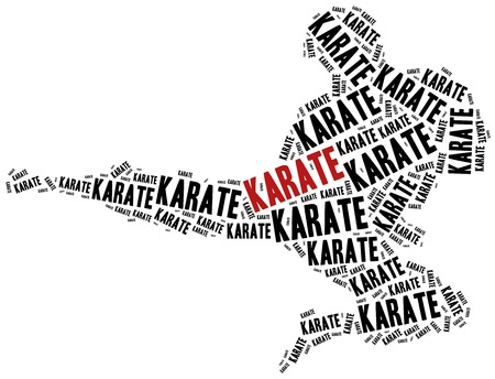 arts: Karate fighter. Martial arts concept. Word cloud illustration.
