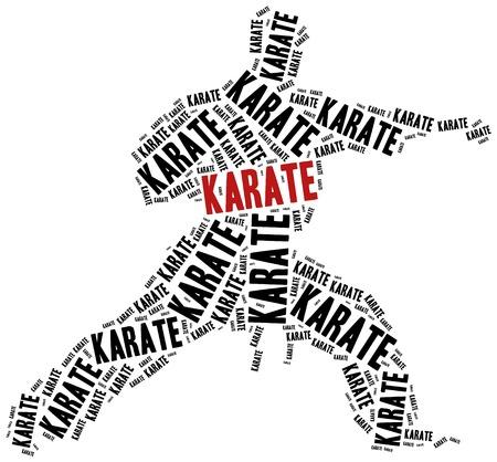 Karate vechter. Martial arts concept. Word cloud illustratie.