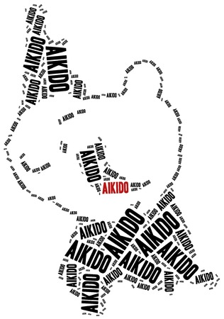 self training: Aikido fighters. Martial arts concept. Word cloud illustration.