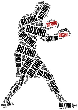 Boxer or boxing fighter. Martial arts concept. Word cloud illustration. Stock Photo