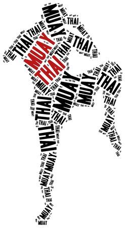 Muay Thai. Vechtsporten concept. Word cloud illustratie. Stockfoto