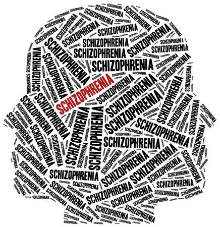 esquizofrenia: La esquizofrenia o concepto de enfermedad mental. Ilustraci�n de la nube de Word. Foto de archivo