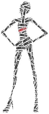 Anorexia or nutrition disorder concept. Word cloud illustration.