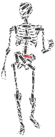 anorexia: Anorexia or nutrition disorder concept. Word cloud illustration.