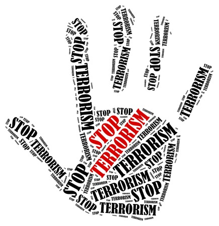 terrorism crisis: Stop terrorism. Word cloud illustration in shape of hand print showing protest.