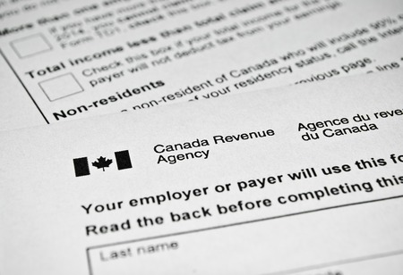 Canadian tax form. Personal income tax form used in Canada.