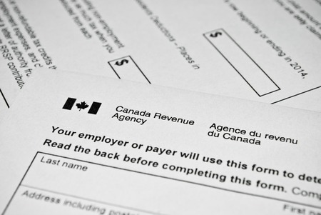 money time: Canadian tax form. Personal income tax form used in Canada.