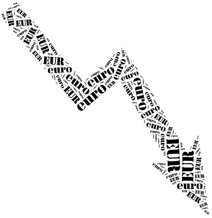 stock price quote: Euro currency drop. Word cloud illustration.