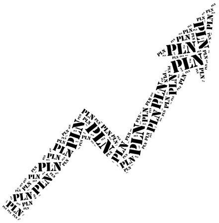 stock price quote: Polish Zloty or PLN currency growth. Word cloud illustration.