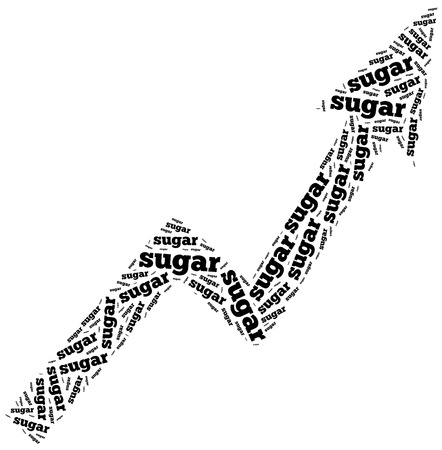 commodity: Sugar commodity price growth. Word cloud illustration.