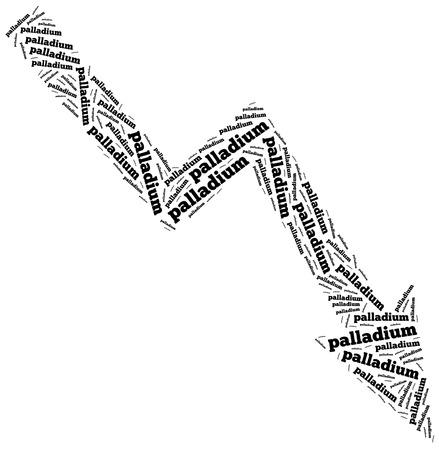 Palladium commodity price drop. Word cloud illustration. illustration