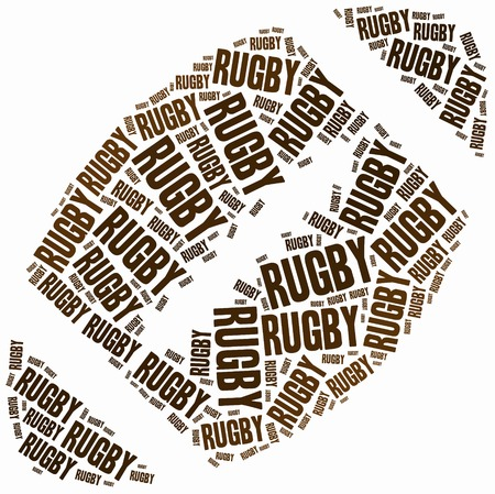 rugby team: Word cloud illustration related to american football or Super Bowl tournament. Stock Photo