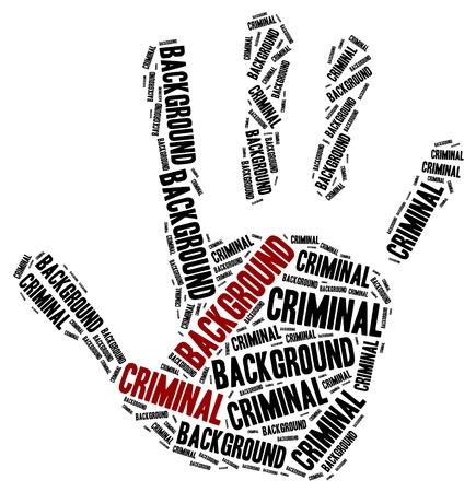 derecho penal: Verificación de antecedentes penales. Ilustración de la nube de Word. Foto de archivo