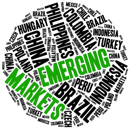 emerging markets: Emerging markets. Word cloud illustration related to developing economies. Stock Photo
