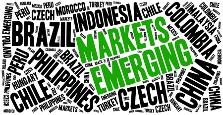 Emerging markets. Word cloud illustration related to developing economies. Stock Photo