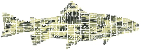 Gone fishing. Word cloud illustration related to fishing.