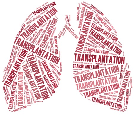 transplantation: Lung transplantation. Word cloud illustration.