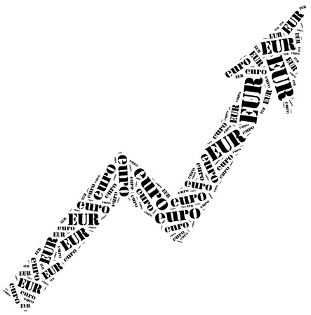 stock price quote: Euro currency growth. Word cloud illustration. Stock Photo