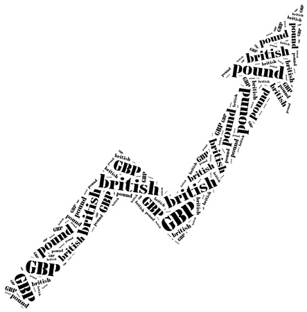 British pound sterling or GBP currency growth. Word cloud illustration.