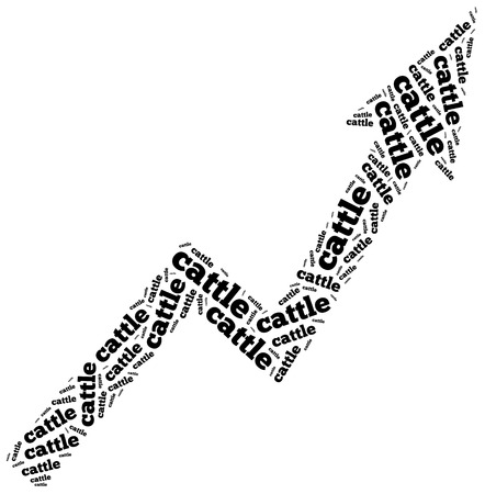Cattle commodity price growth. Word cloud illustration.