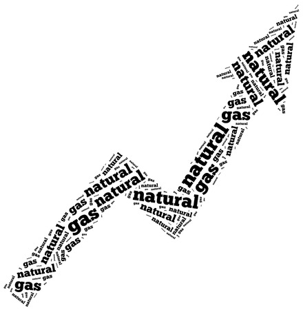 commodity: Natural gas commodity price growth. Word cloud illustration.