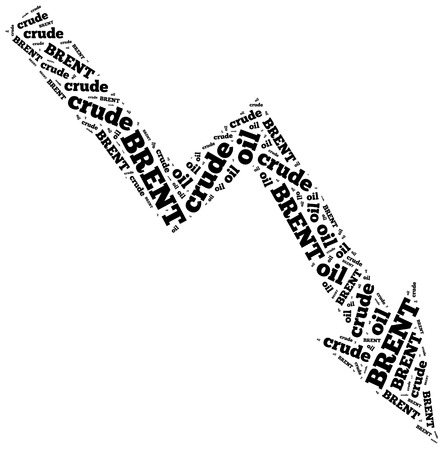 brent crude: Brent crude oil commodity price drop. Word cloud illustration.