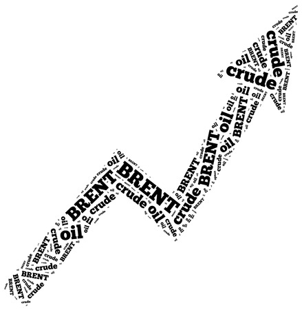 brent crude: Brent crude oil commodity price growth. Word cloud illustration