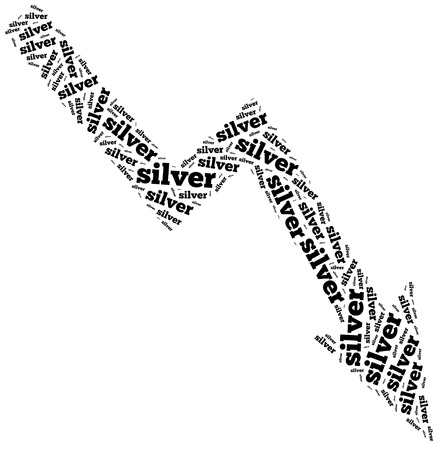 Silver commodity price drop. Word cloud illustration. illustration