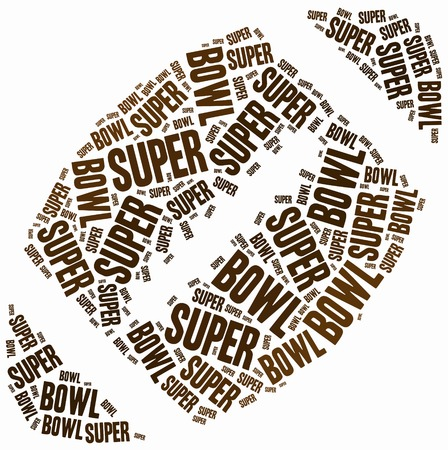 Word cloud illustration related to american football or Super Bowl tournament. Stock Photo