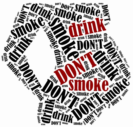 women smoking: Pregnancy prohibited activities. Smoking and drinking. Word cloud illustration. Stock Photo