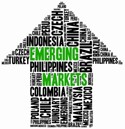 Emerging markets. Word cloud illustration related to developing economies. Stock fotó
