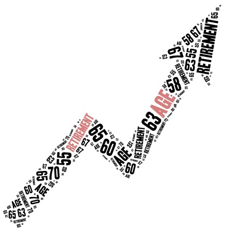 year increase: Word cloud illustration related to retirement age change.