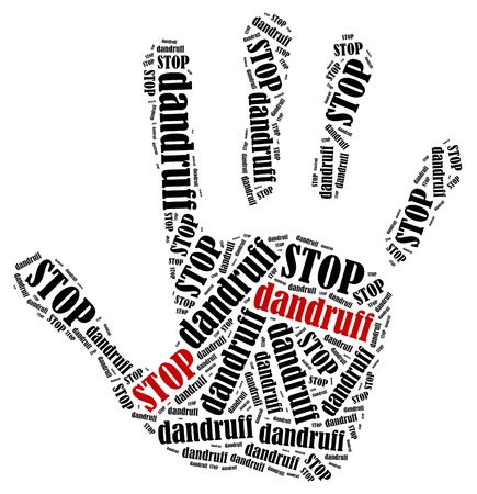 dandruff: Stop dandruff. Word cloud illustration in shape of hand print showing protest.