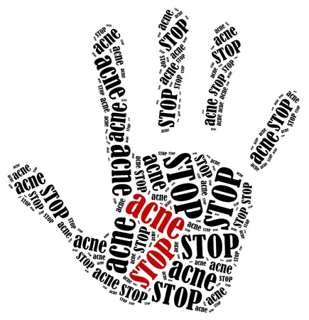 acne: Stop acne. Word cloud illustration in shape of hand print showing protest.