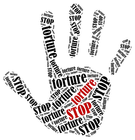 Stop torture. Word cloud illustration in shape of hand print showing protest. 스톡 콘텐츠