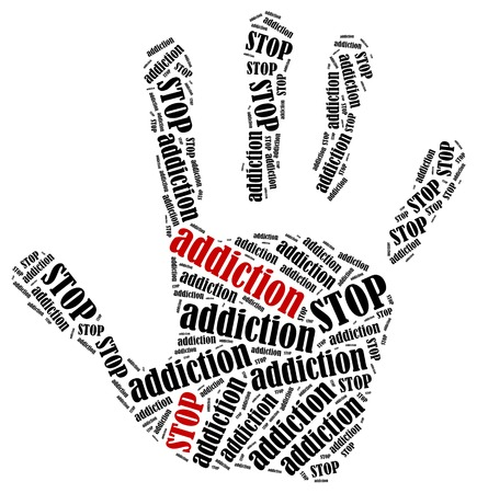 dependence: Stop addiction. Word cloud illustration in shape of hand print showing protest. Stock Photo