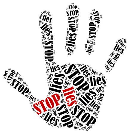 Stop lies. Word cloud illustration in shape of hand print showing protest. Stock Photo