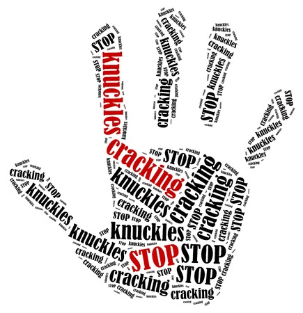 rally finger: Stop cracking knuckles. Word cloud illustration in shape of hand print showing protest. Stock Photo