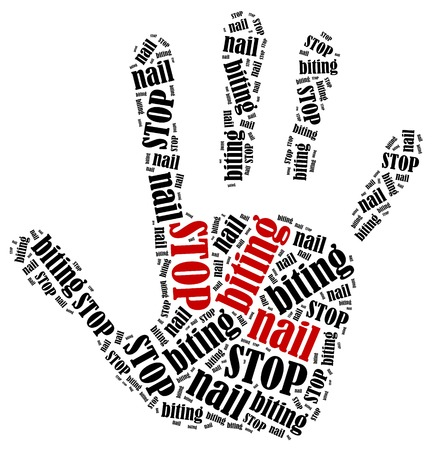 worry tension: Stop biting nails. Word cloud illustration in shape of hand print showing protest.