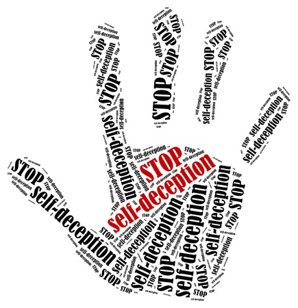 liar: Stop self-deception. Word cloud illustration in shape of hand print showing protest.