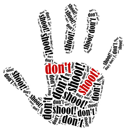 don't: Dont shoot! Word cloud illustration in shape of palm.