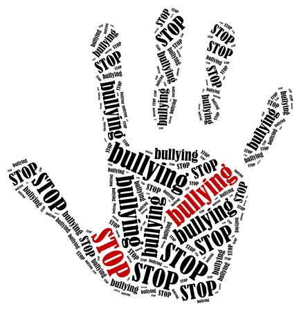 Stoppen met pesten. Word cloud illustratie in de vorm van de hand prent van protest.