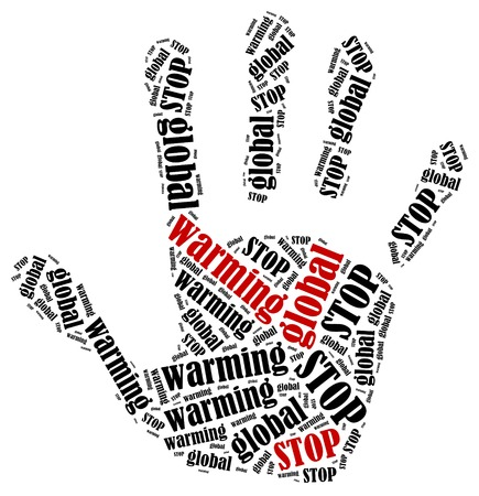 stop global warming: Stop global warming. Word cloud illustration in shape of hand print showing protest.