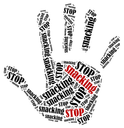snacking: Stop snacking. Word cloud illustration in shape of hand print showing protest.