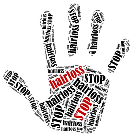 Stop hairloss. Word cloud illustration in shape of hand print showing protest.