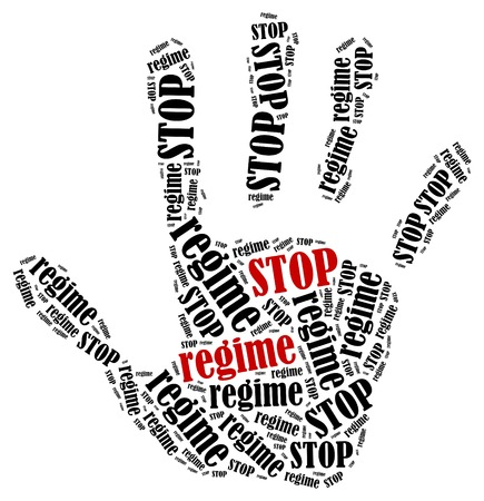 Stop regime. Word cloud illustration in shape of hand print showing protest. Stock Photo