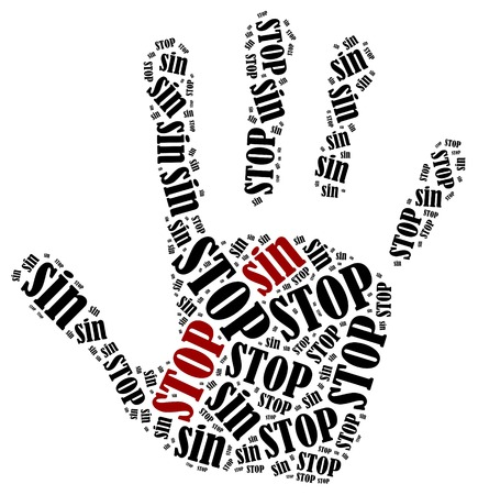 damnation: Stop sin. Word cloud illustration in shape of hand print showing protest. Stock Photo
