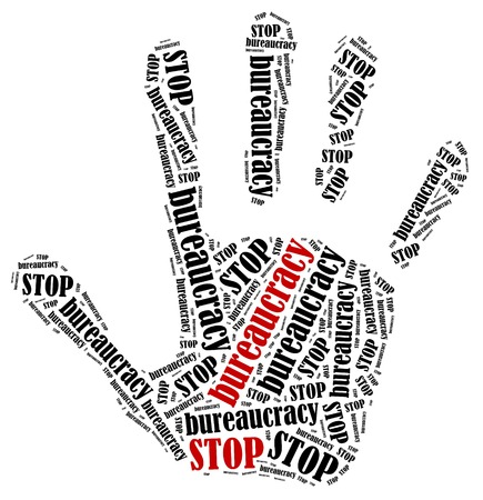 bureaucracy: Stop bureaucracy. Word cloud illustration in shape of hand print showing protest.