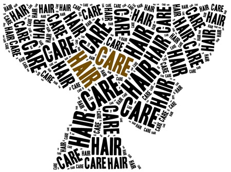 woman washing hair: Hair care. Word cloud illustration related to hairdressing. Stock Photo