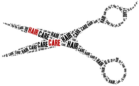 scissors cutting: Hair care. Word cloud illustration related to hairdressing. Stock Photo